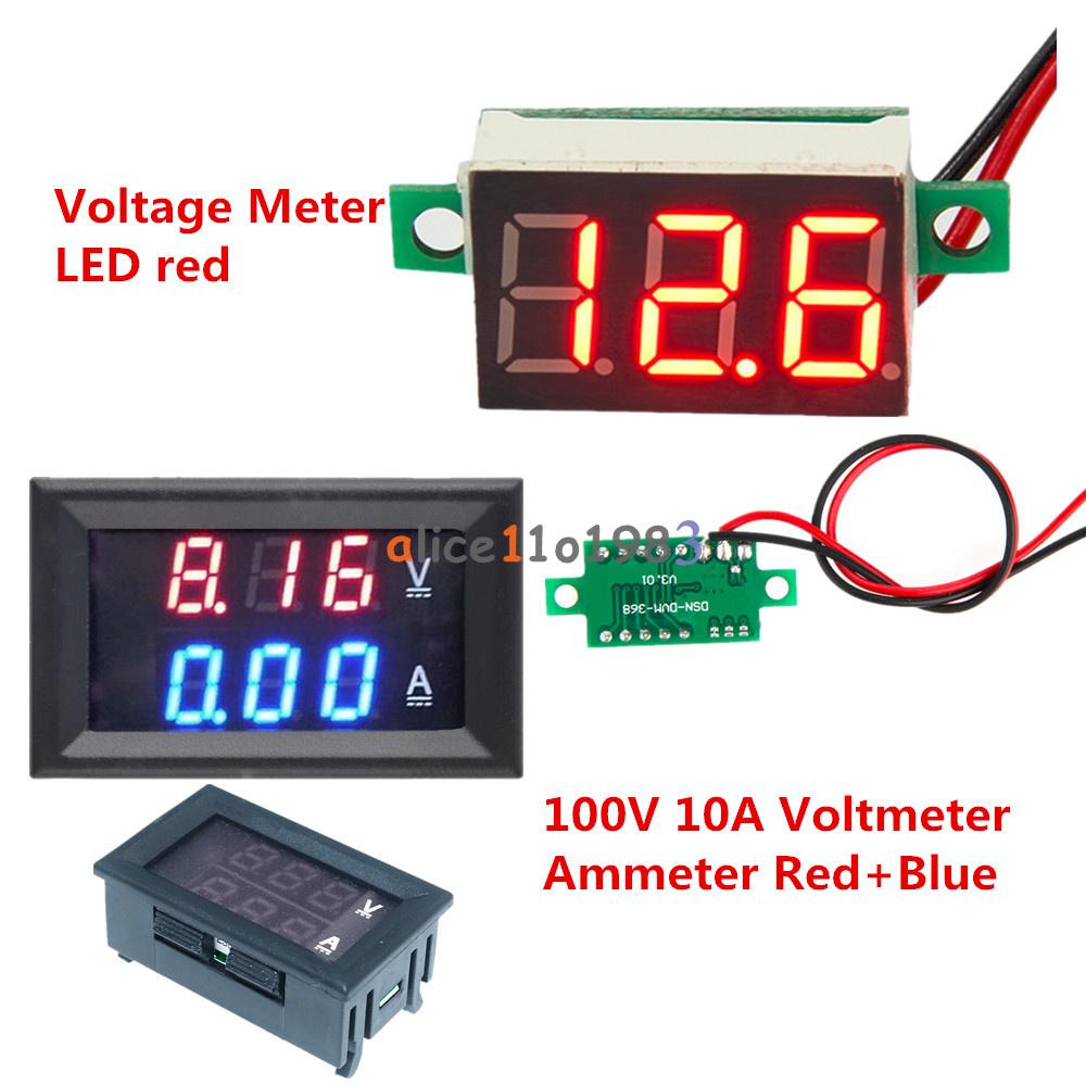 Blue Led Meter : Red led voltage meter dc v a blue voltmeter