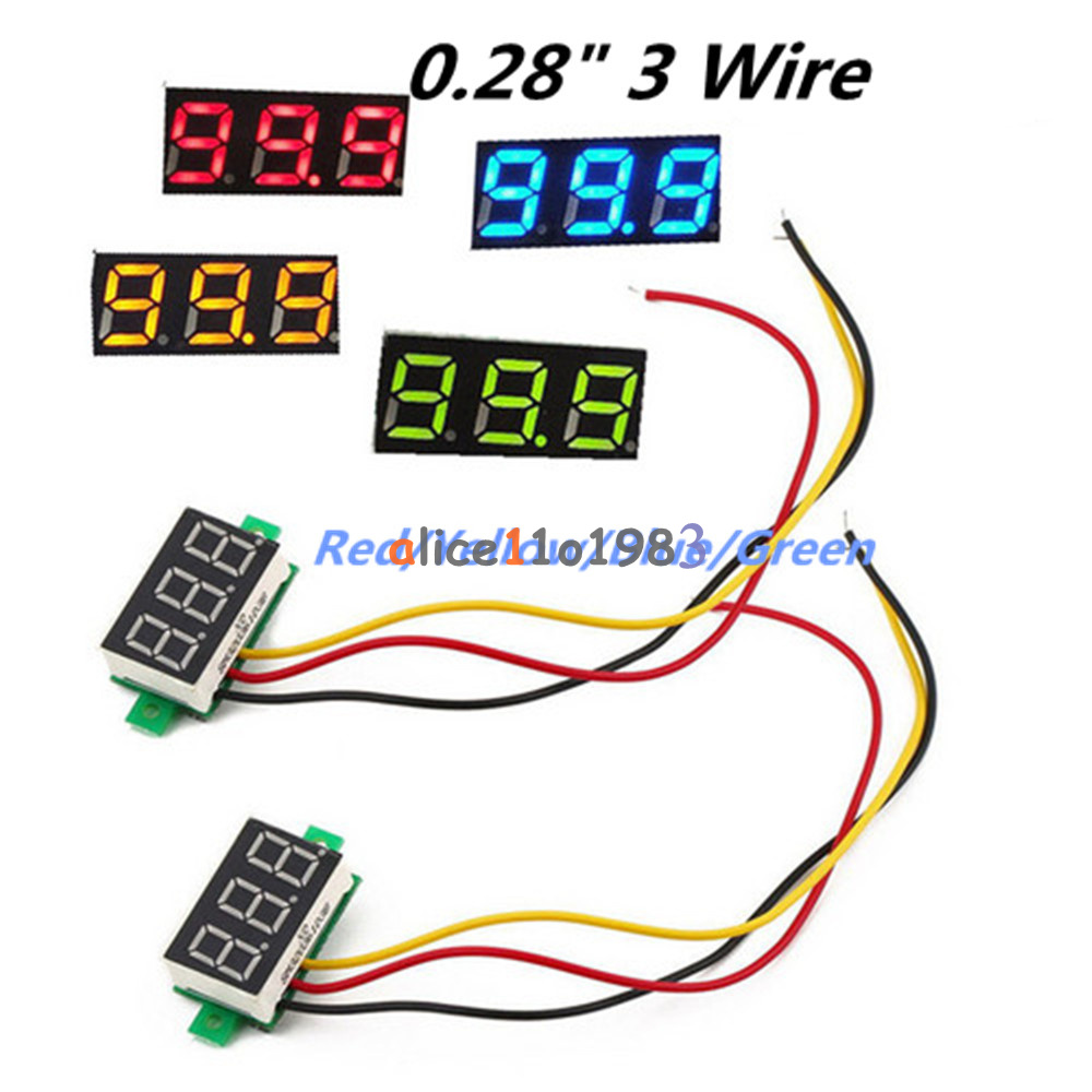 028 3 Wire Led Dc 0 100v Voltmeter Digital Display Voltage Volt Voltmeters Meter 12v 24v