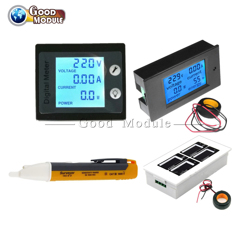 Ac 80 260v 0 100a Lcd Volt Current Watt Kwh Meter Power Energy Ammeter Selector Switch Connection To Transformers And Voltmeter