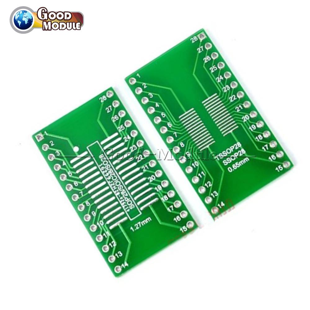20PCS SOP28 SSOP28 TSSOP28 to DIP28 Adapter Converter PCB Board 0.65//1.27mm