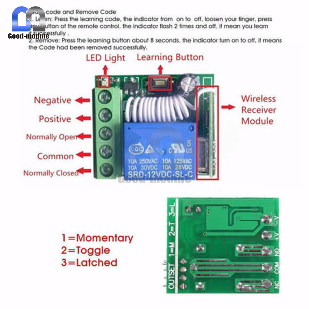 12v 315 433mhz 1 Channel Wireless Relay Switch Rf Remote Control Schematic Normally Open Namewireless 1input Voltage Dc10 14v 2standby Current 5ma 3rf Frequency 4rf Working Modesuper Heterodyne Receiver
