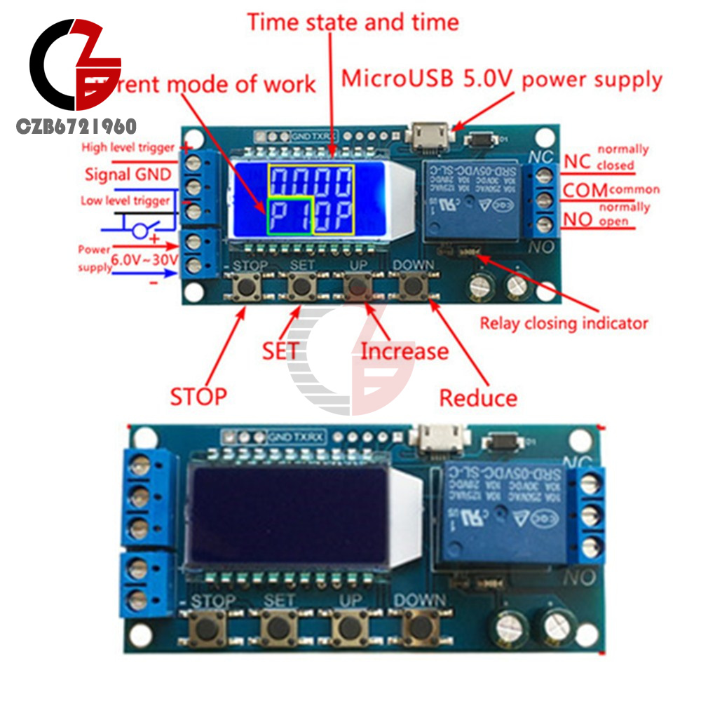5v Time Delay Relay Module Trigger Cycle Timming Circuit Switch Lcd Board No Nc Usb