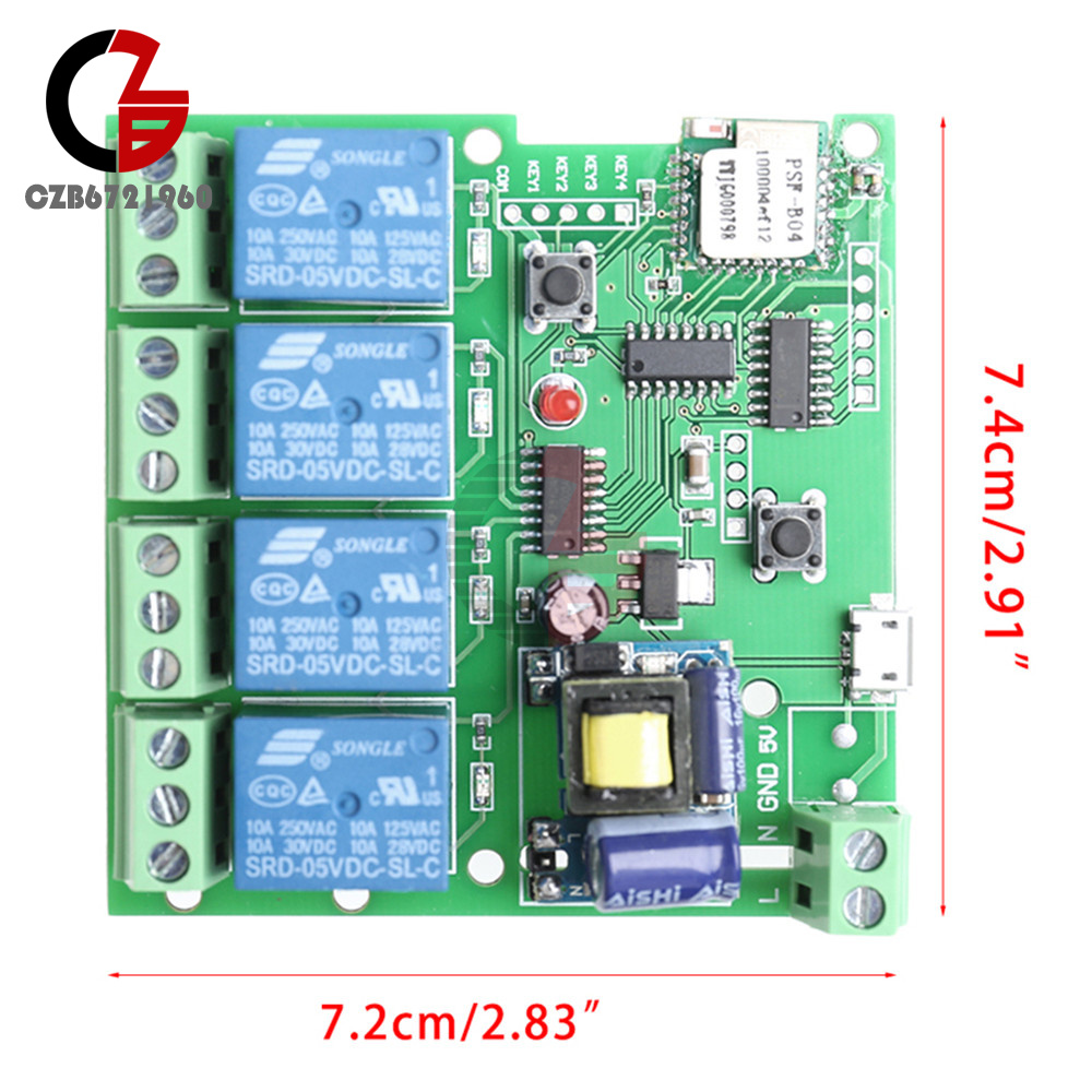 4 Ch 433mhz Channel Ac 220v Wifi Wireless Relay Delay Switch Circuit Control For Home