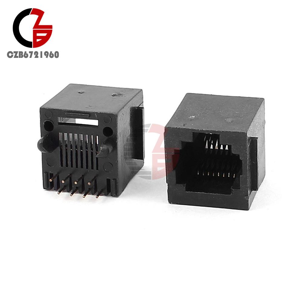 10PCS RJ45 8P8C Black Jack Modules PCB Mount Network Internet ...