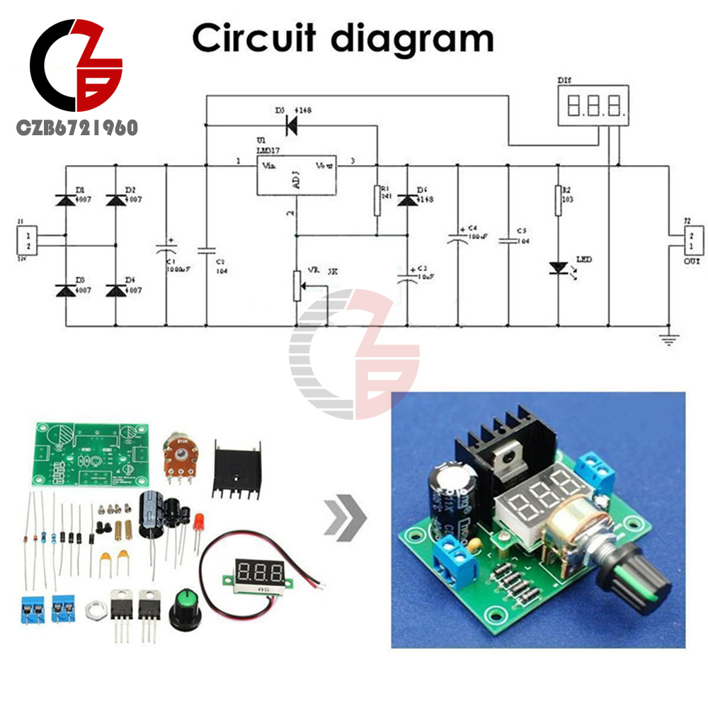 diy kit led lm317 adjustable voltage regulator step down power rh ebay com lm317 adjustable voltage regulator circuit lm317 adjustable voltage regulator calculator