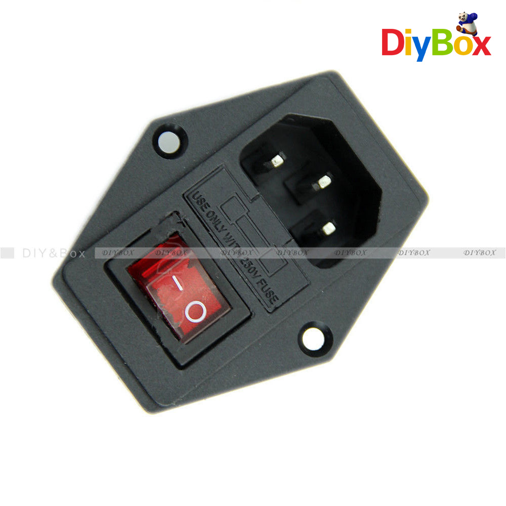 Black Red Ac 250v 10a 3 Terminal Power Socket With Fuse Holder New Box Switch Is