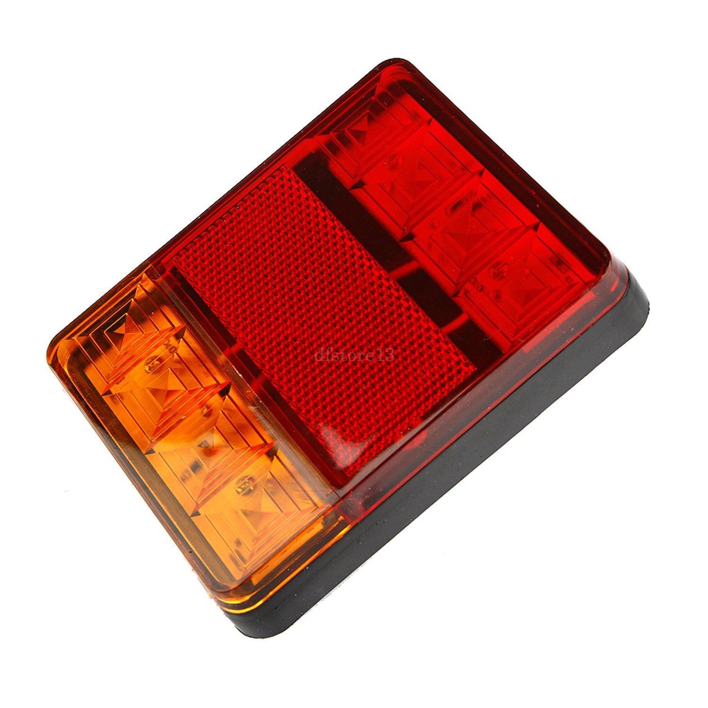 2x feu arri re frein plaque 8 leds rouge jaune tanche voiture camion remorque ebay. Black Bedroom Furniture Sets. Home Design Ideas