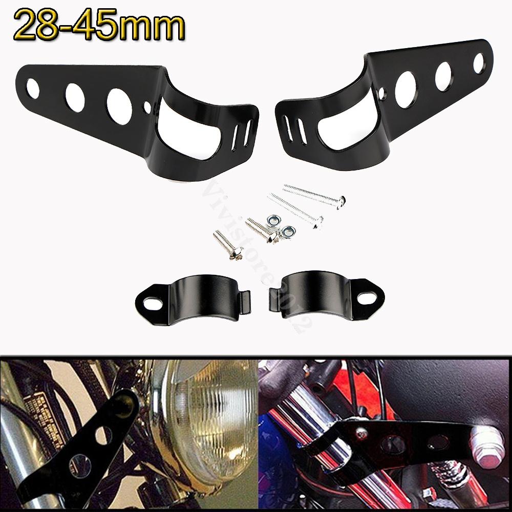 Chrome Headlight Mount Bracket Fork Ear  Bobber Cafe Racer 28mm-36mm