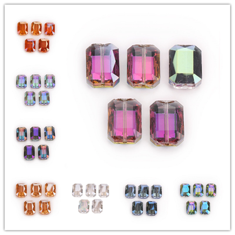 14mm 10PCS Glass Crystal Faceted Diagonal Square Spacer Loose Beads Necklace DIY
