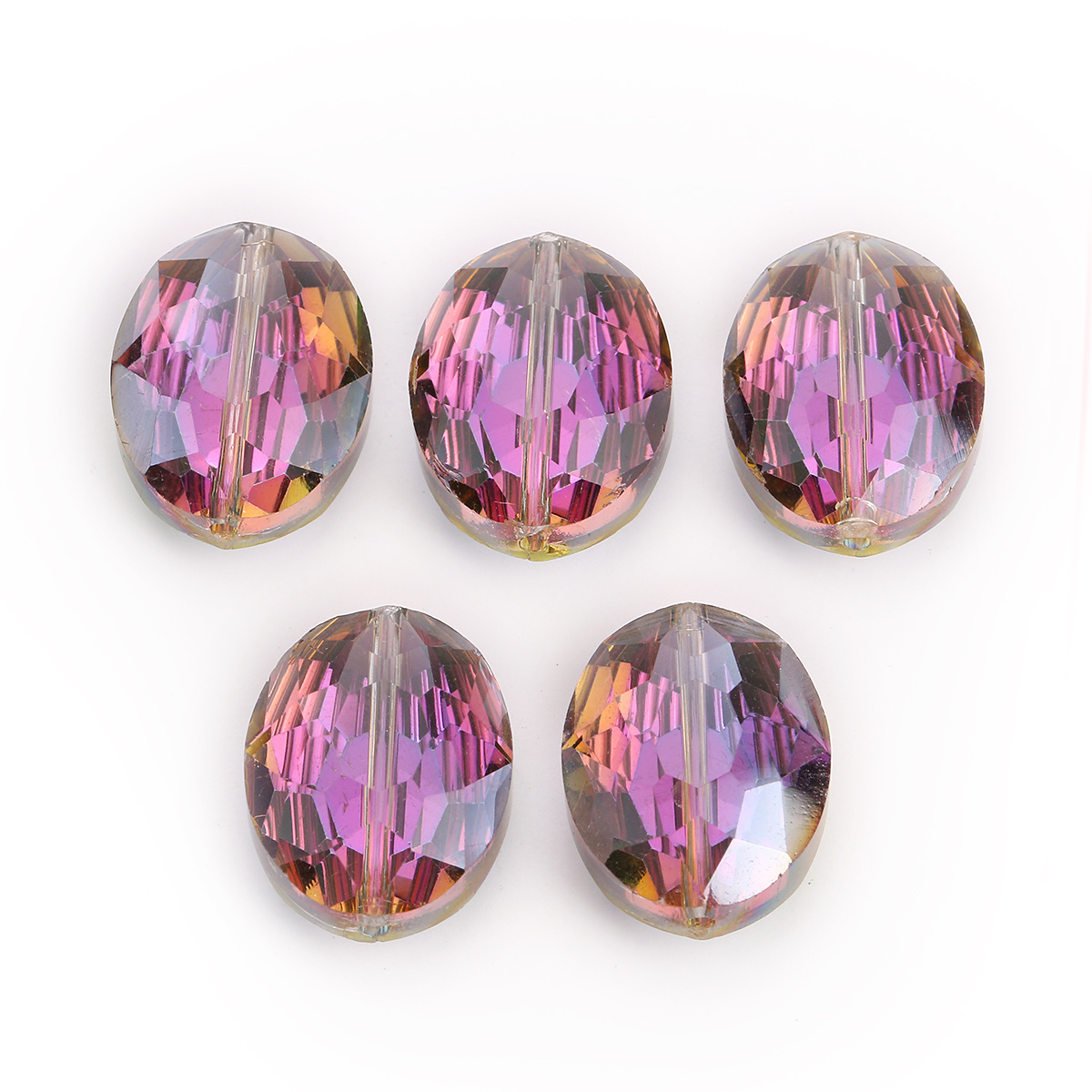 10pcs 20x16mm Faceted Oblong Cut Glass Crystal Loose Spacer Oval Beads DIY Bead#