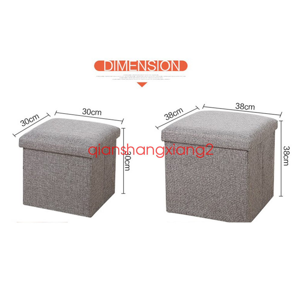neu aufbewahrungsbox faltbarer sitzhocker polster container leinen fu hocker ebay. Black Bedroom Furniture Sets. Home Design Ideas