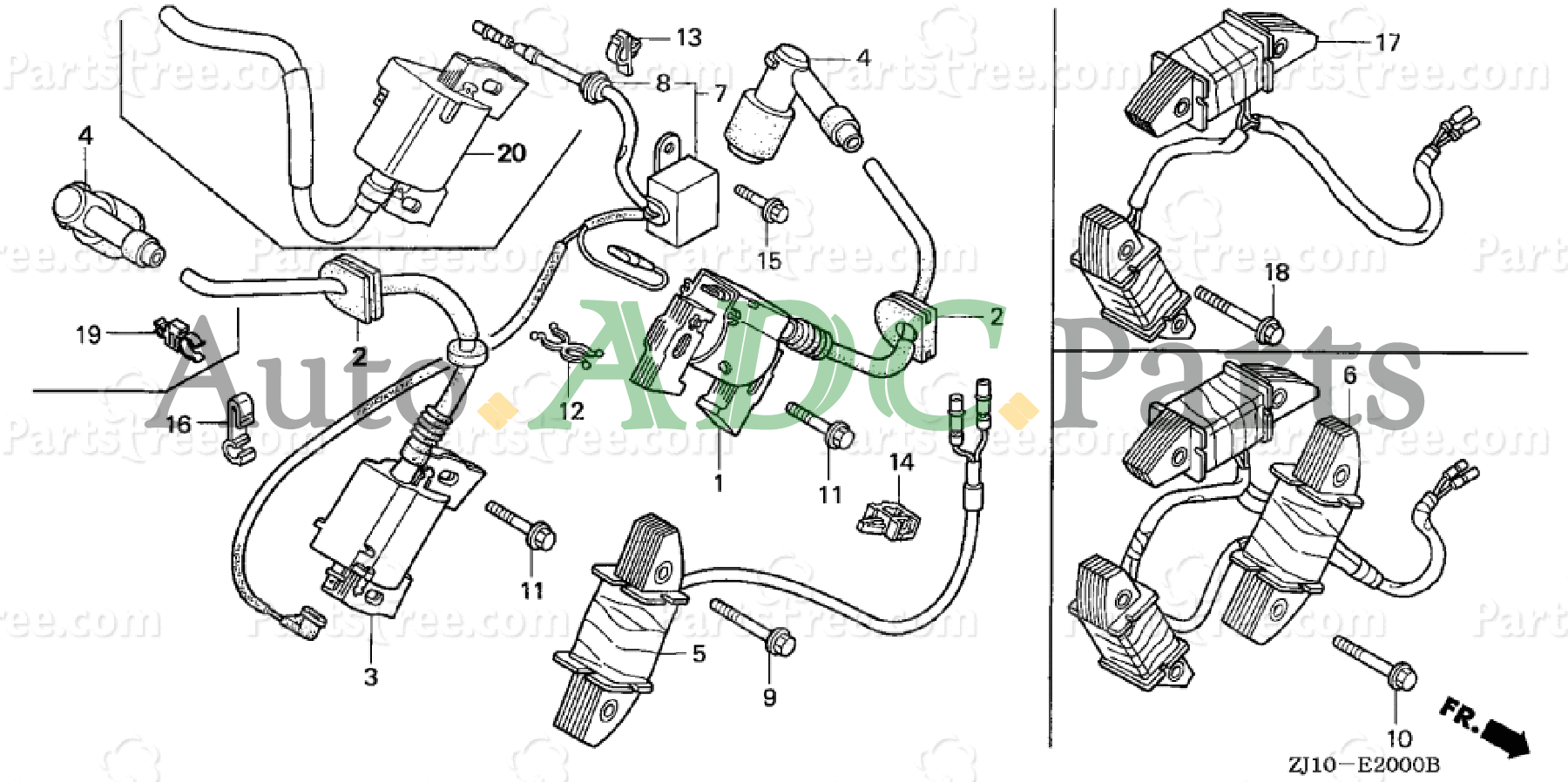 Charge Coil Assembly 31630-ZJ1-802 for Honda GX610 GX620 GX670 GXV610 GXV620