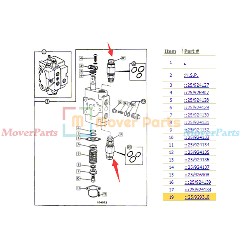 Main Relief Valve Mrv 3300psi 25 929310 For Jcb Backhoe Loader 3cx Wiring Diagram Part No