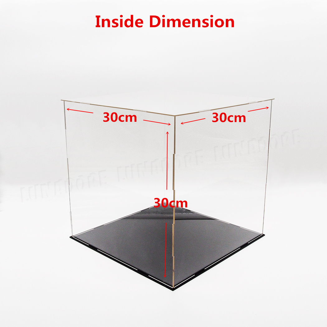 uk 30cm perspex case big cube clear acrylic display box plastic base dustproof l ebay. Black Bedroom Furniture Sets. Home Design Ideas