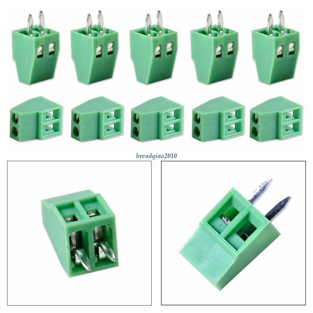 "50Pc 2.54mm 0.1/"" Universal PCB Screw Terminal Block Connector 2Poles 2 Pin Green"