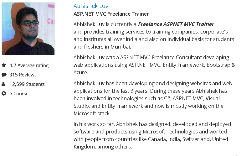 Abhishek Luv's Udemy Profile