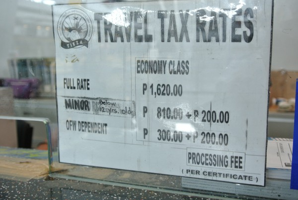 Philippine travel tax rates as of today.