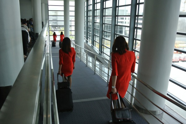 And of course, the ladies-in-red, the beautiful flight attendants !