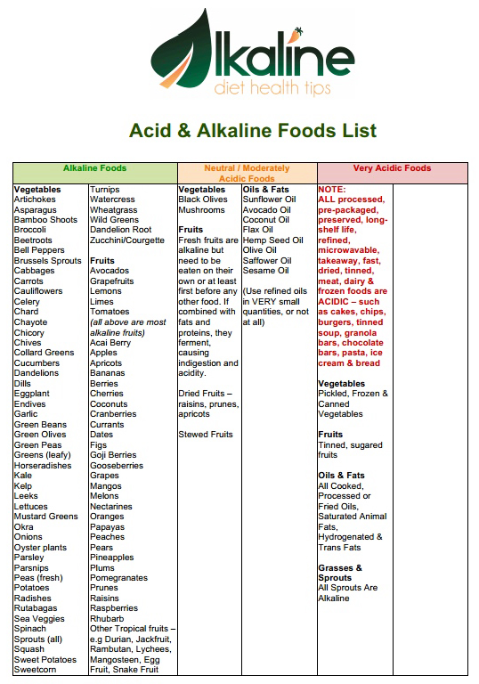 Printable free alkaline food list lists alkaline acidic foods acid alkaline food list1 forumfinder Gallery