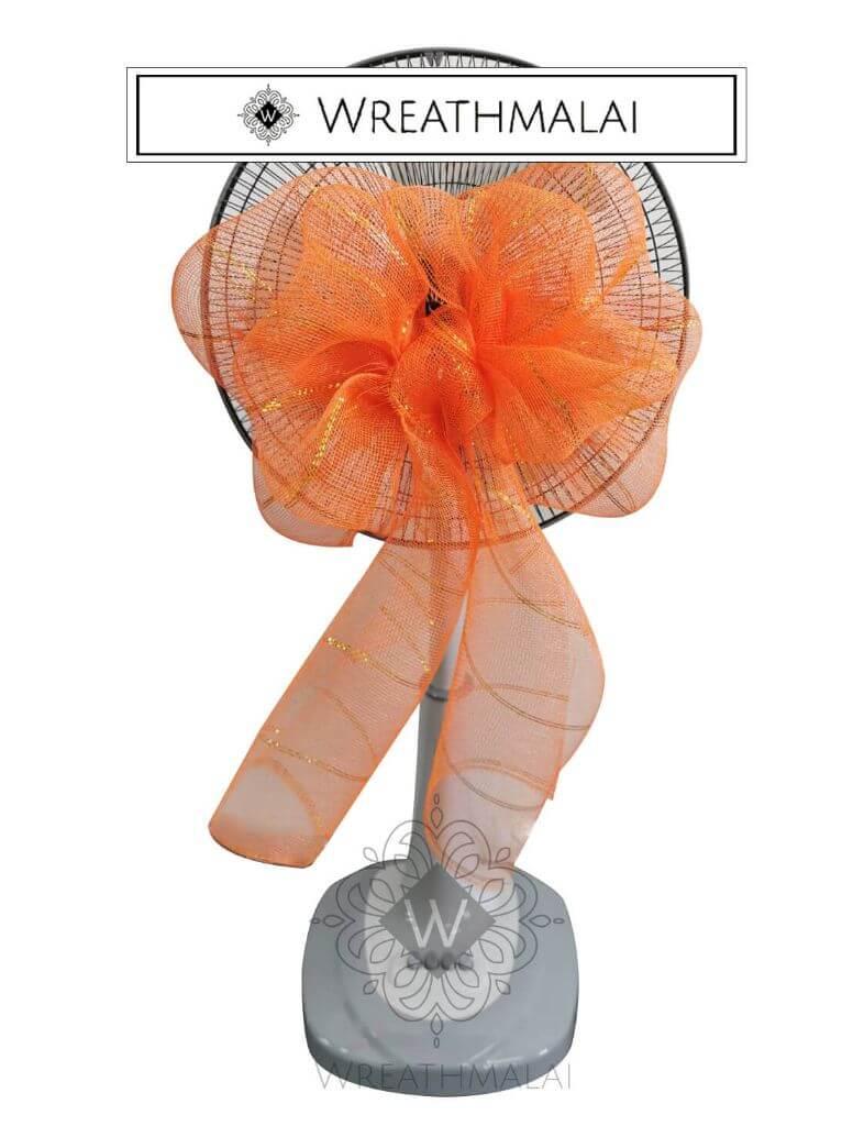 WF013 พวงหรีดพัดลมประดับเกลียวโบว์สีส้ม ดิ้นทอง ตั้งพื้น ยืดได้  Airy 16 นิ้ว/18นิ้ว