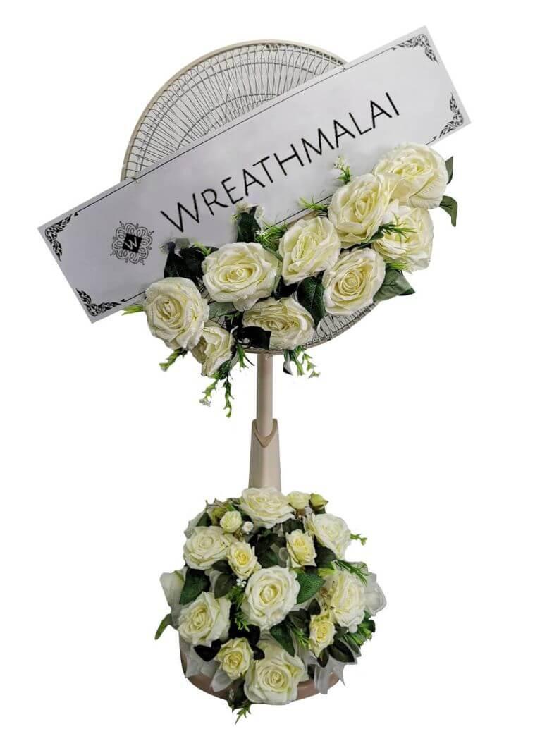 "WF023 พวงหรีด""รักนิรันดร์"" ประดับดอกกุหลาบสีขาวบริสุทธิ์  Sharp / Hatari 16 นิ้ว และ 18 นิ้ว"