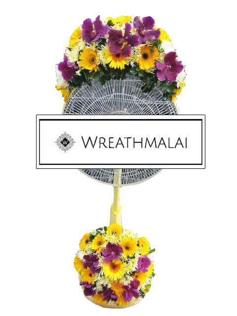 WF029 พวงหรีดพัดลมดอกไม้สด HAtari 16 นิ้ว ตั้งพื้น ยืดได้ ประดับดอกไม้ด้านบน + ฐานล่าง