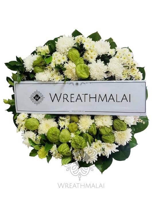 WF033 พวงหรีดดอกไม้สด  Size M