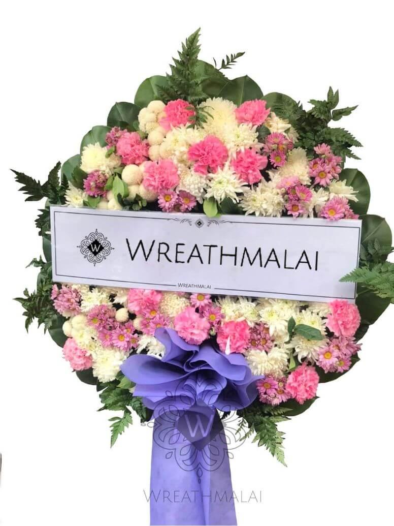 WF039 พวงหรีดดอกไม้สด  Size M