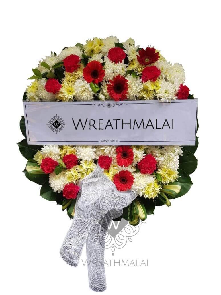 WF040 พวงหรีดดอกไม้สด  Size M