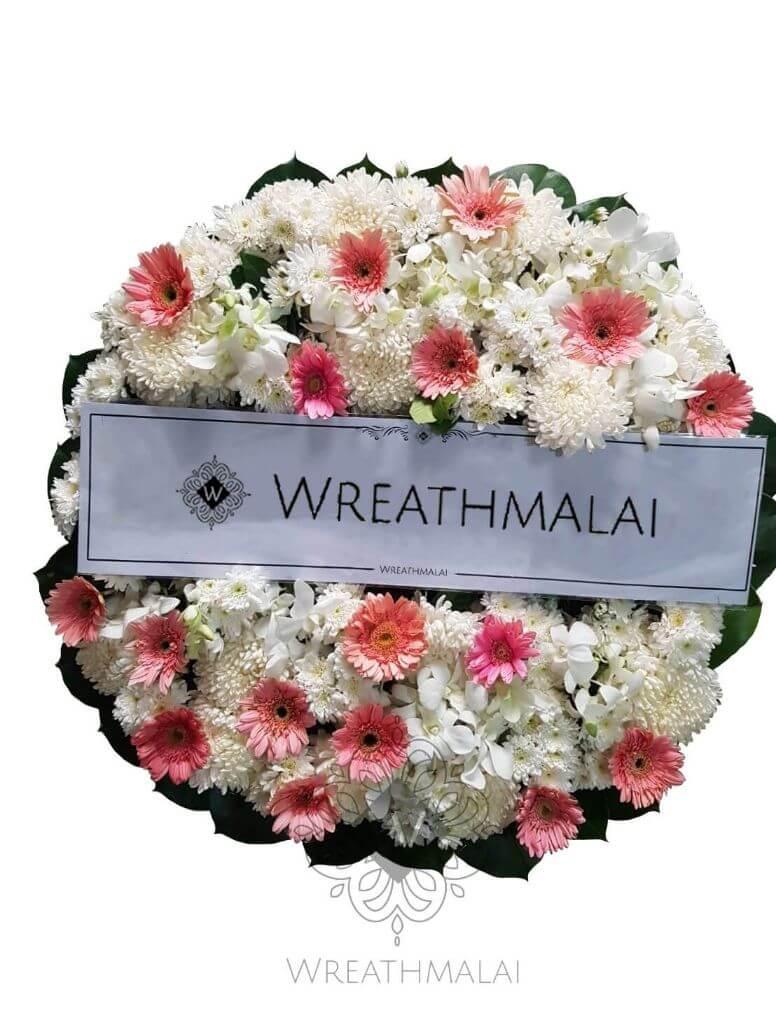 WF041 พวงหรีดดอกไม้สด  Size M