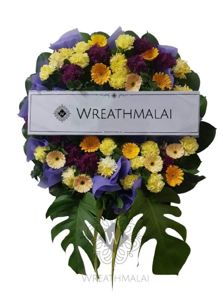 WF042 พวงหรีดดอกไม้สด  SizeM