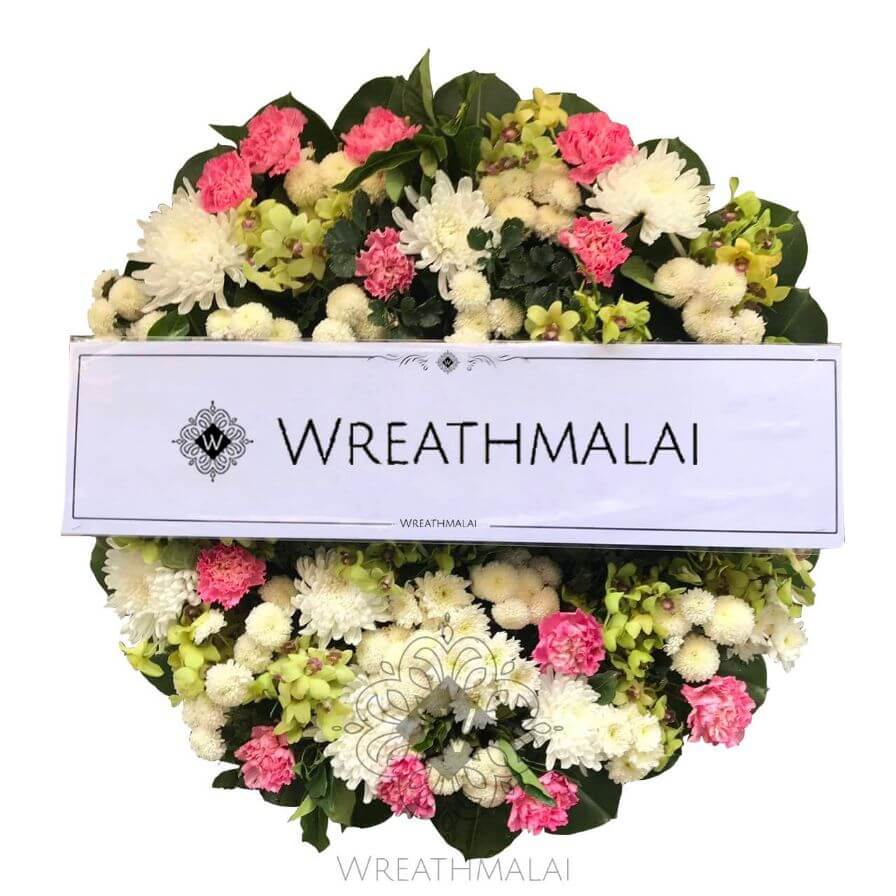 WF043 พวงหรีดดอกไม้สด  Size M