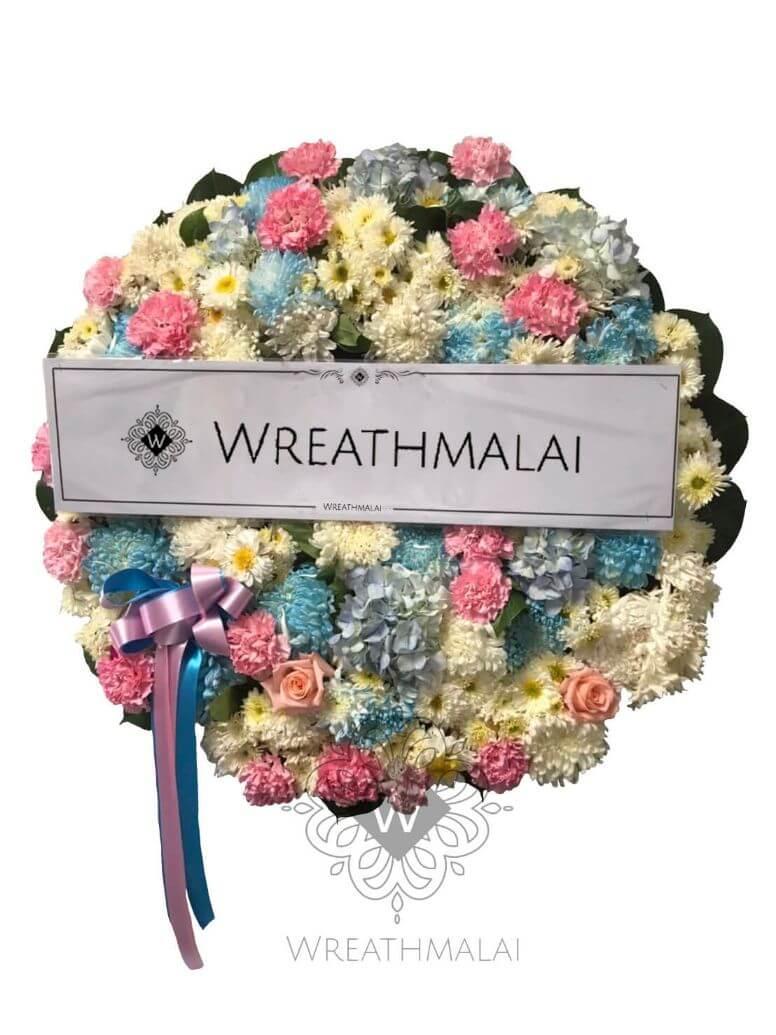 WF044 พวงหรีดดอกไม้สด  Size M