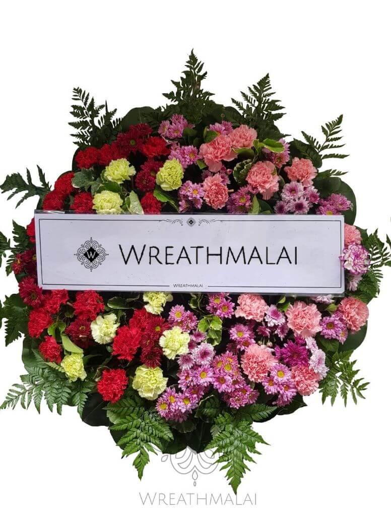 WF045 พวงหรีดดอกไม้สด  Size M