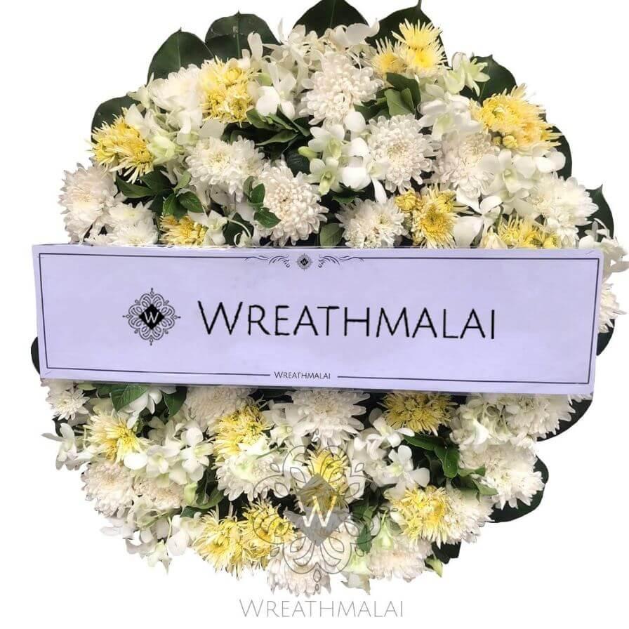 WF046 พวงหรีดดอกไม้สด  Size M
