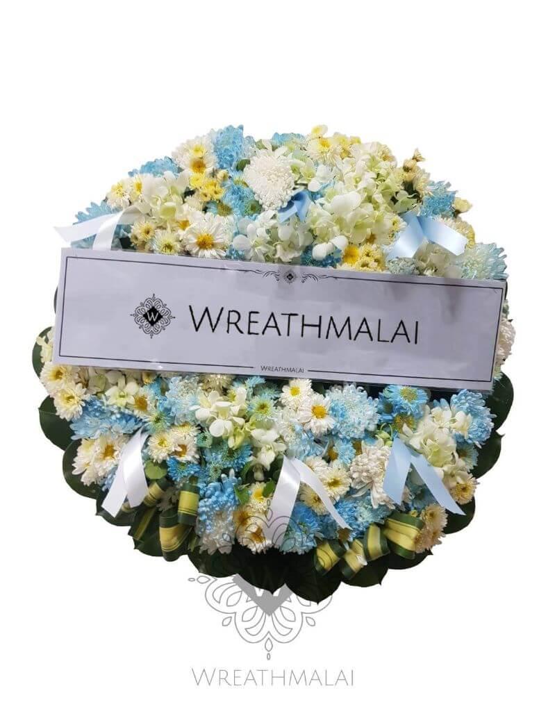 WF047 พวงหรีดดอกไม้สด  Size M