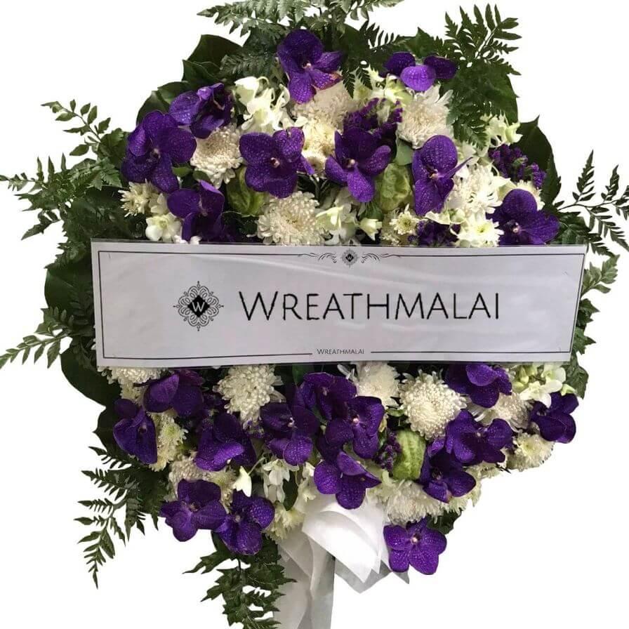 WF049 พวงหรีดดอกไม้สด Size M