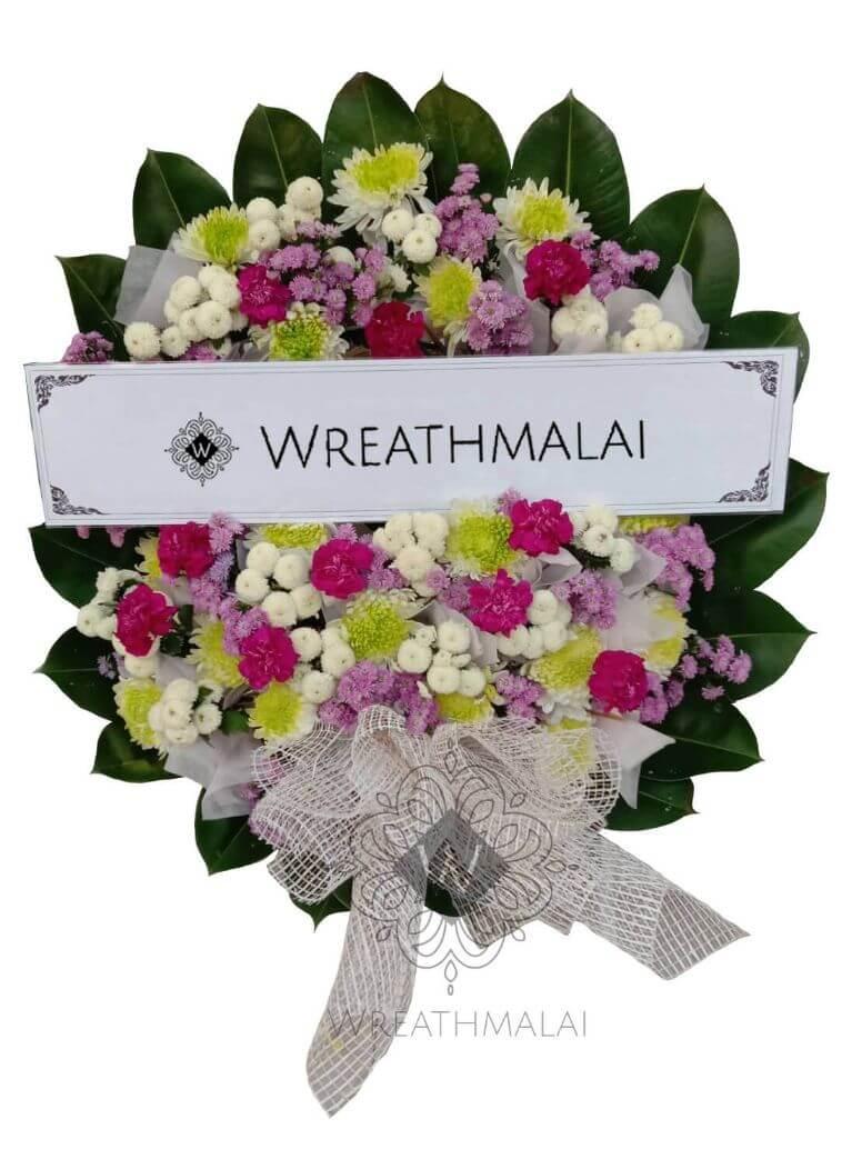 WF051 พวงหรีดดอกไม้สด  Size M