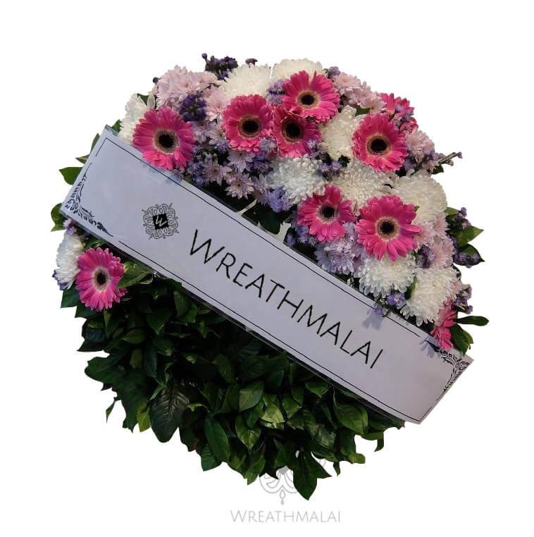 WF052 พวงหรีดดอกไม้สด  Size M