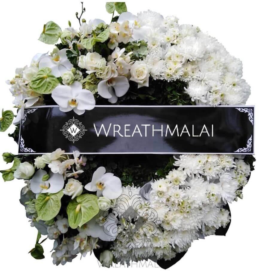 "WF054 พวงหรีด ""ดาริน "" ทรงพวงมาลา ทำมือจากดอกไม้สด สวยสง่า"