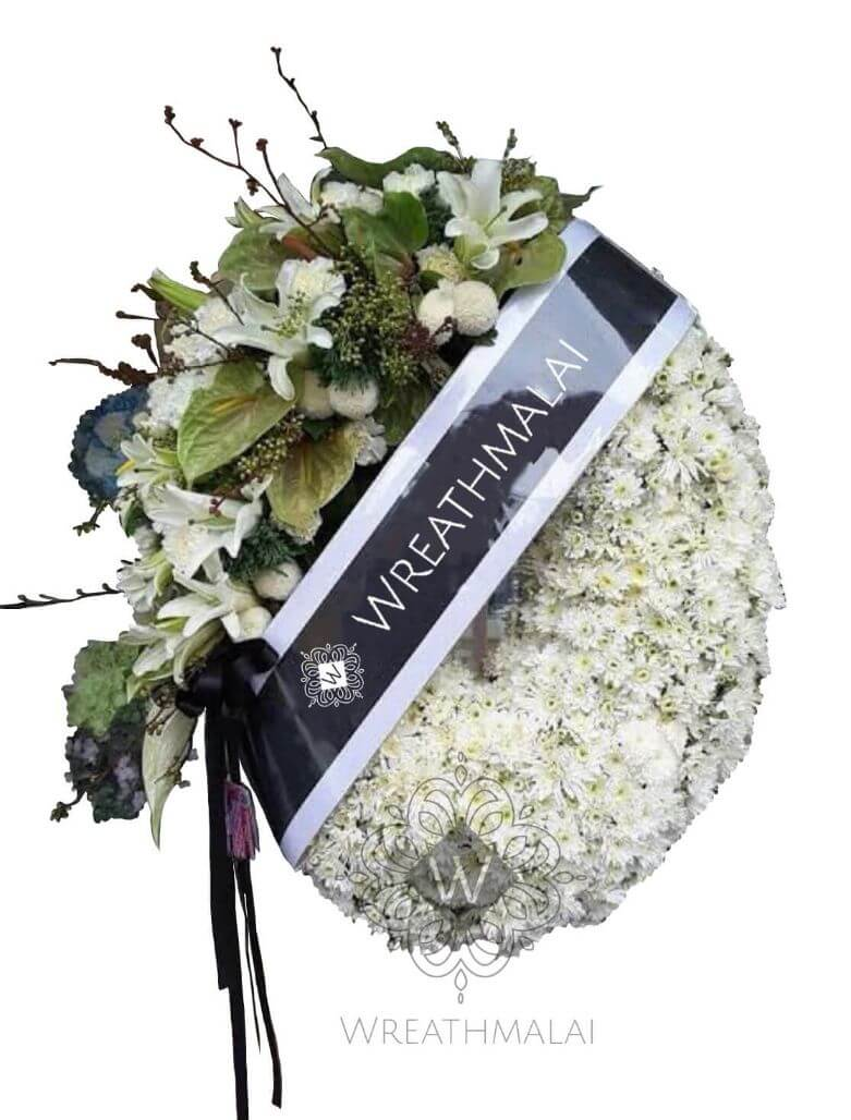 """WF055 พวงหรีด """"ขวัญตา"""" ทรงพวงมาลา ทำมือจากดอกไม้สด สวยสง่า"""
