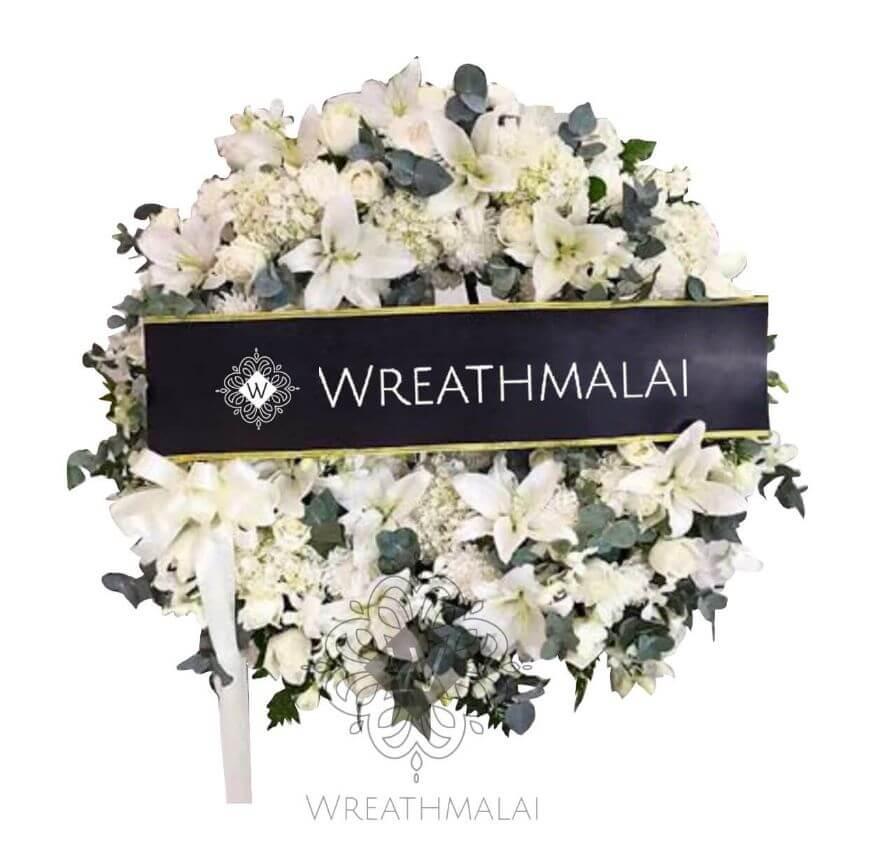 WF056 พวงหรีดดอกไม้สด Size M