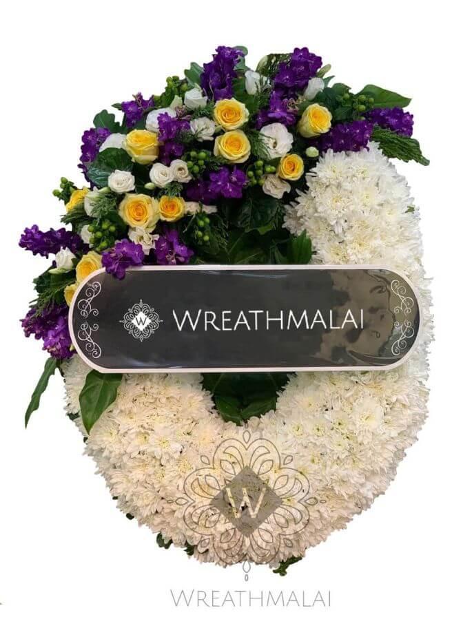 """WF057 พวงหรีด """"สกาวเดือน """" ทรงพวงมาลา ทำมือจากดอกไม้สด สวยสง่า"""