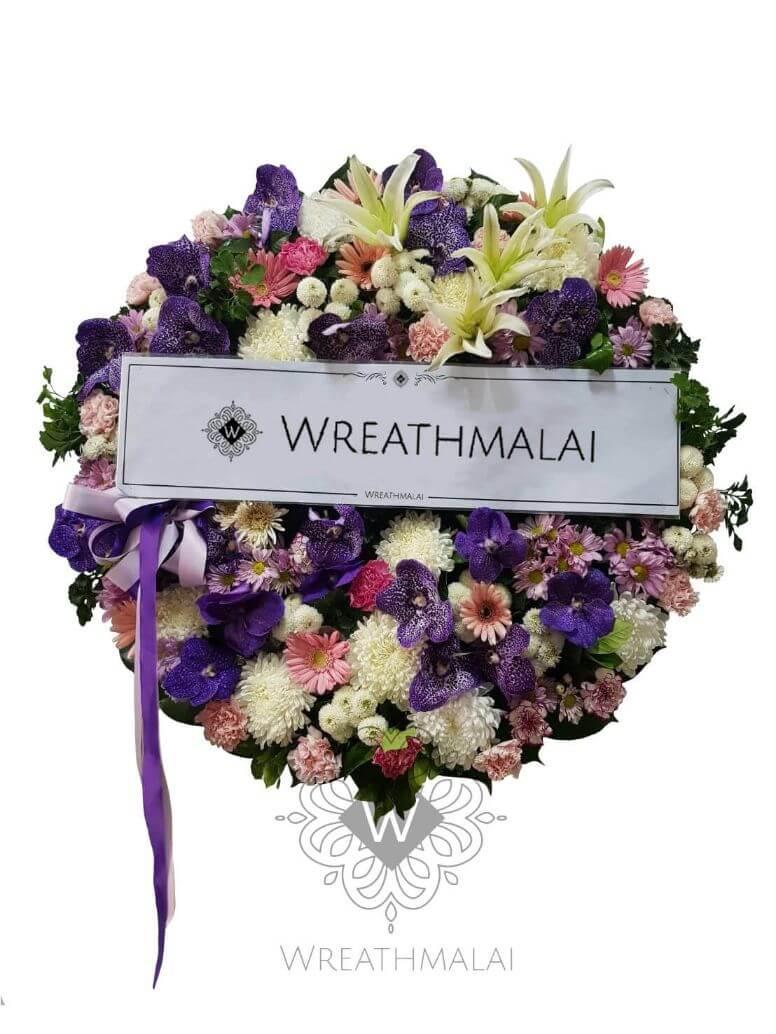 WF058 พวงหรีดดอกไม้สด  Size L  โทนสี iris สวยสง่า