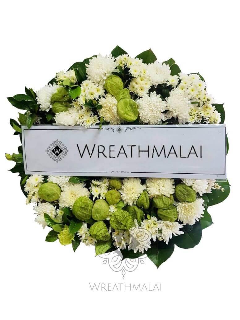WF060 พวงหรีดดอกไม้สด  Size S