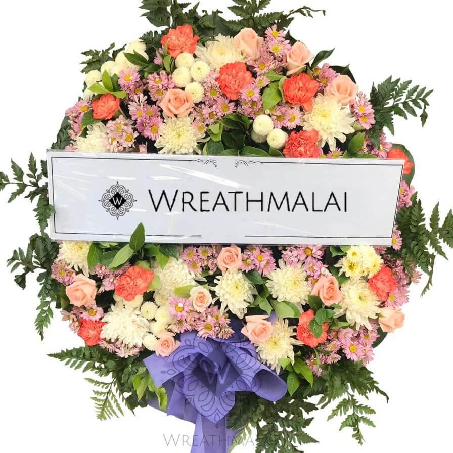 WF061 พวงหรีดดอกไม้สด Size M