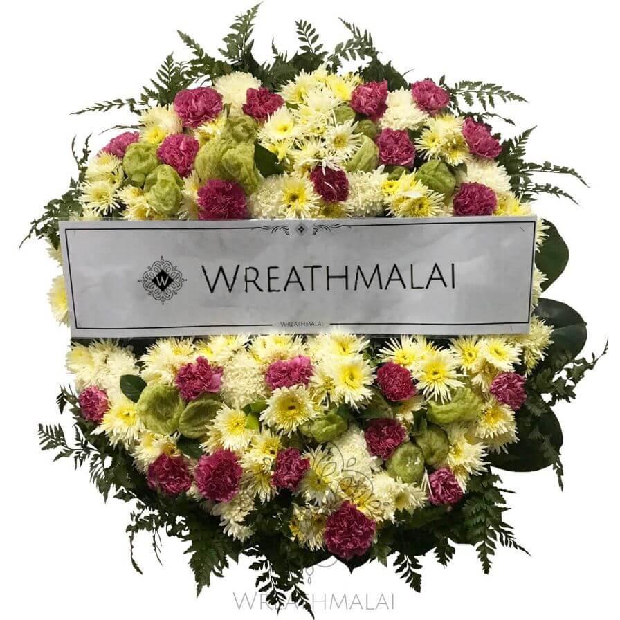 WF062 พวงหรีดดอกไม้สด Size M