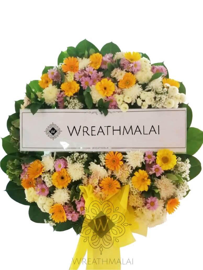 WF064 พวงหรีดดอกไม้สดไซด์ M