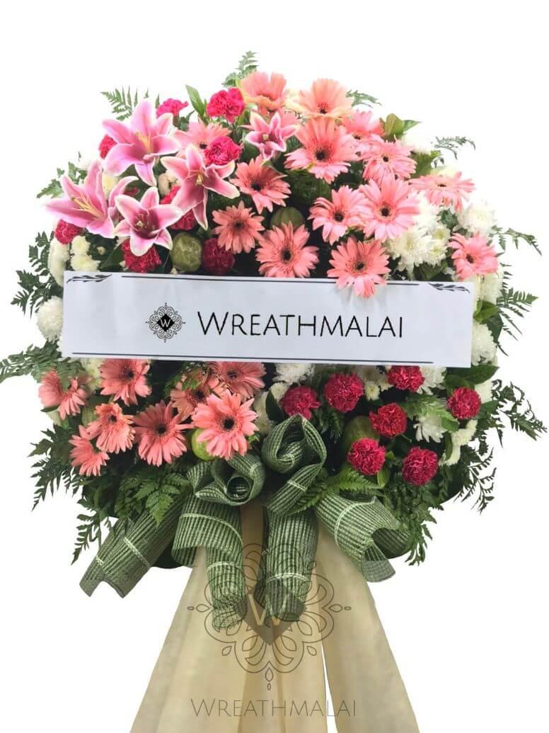 "WF067 พวงหรีดดอกไม้สด""รินระดา""  Size L หวานอ่อนช้อย"