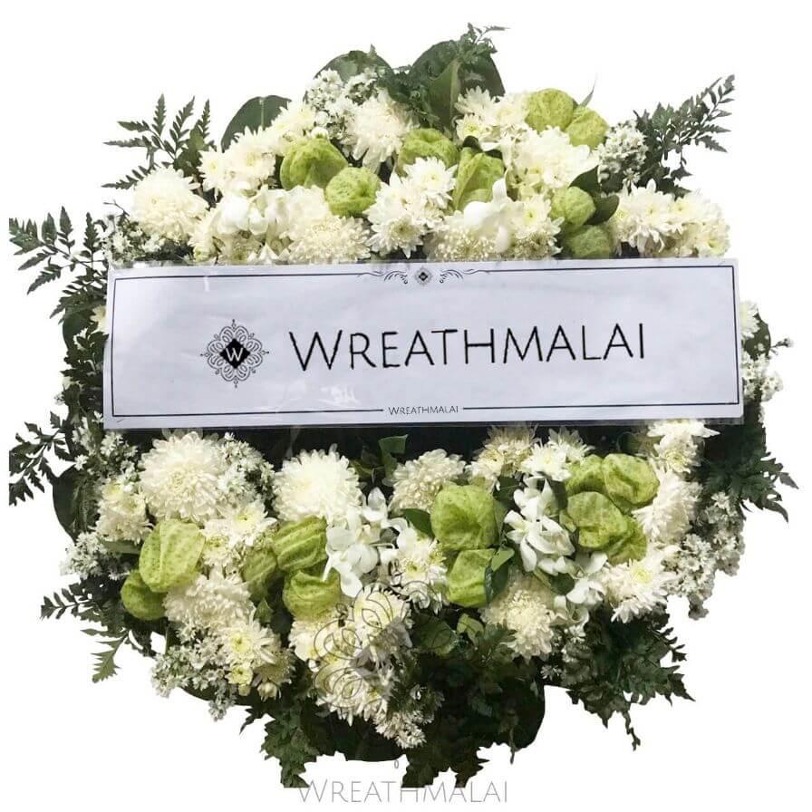 WF068 พวงหรีดดอกไม้สดไซด์ M